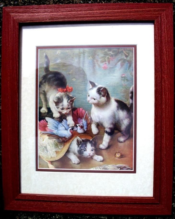 Vintage cat print of 3 kittens