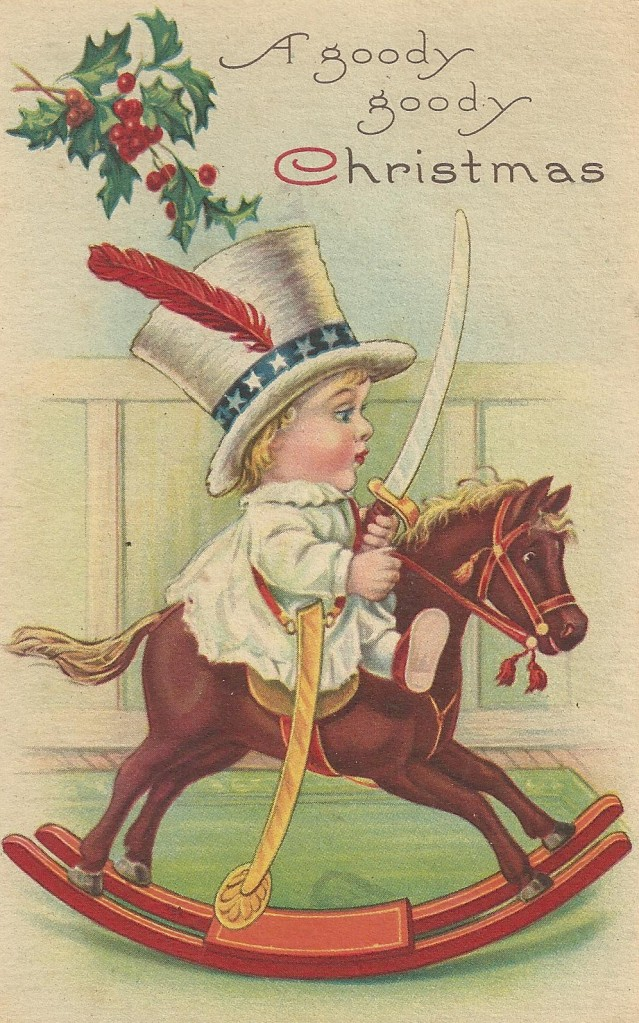 Christmas Card child on rocking horse