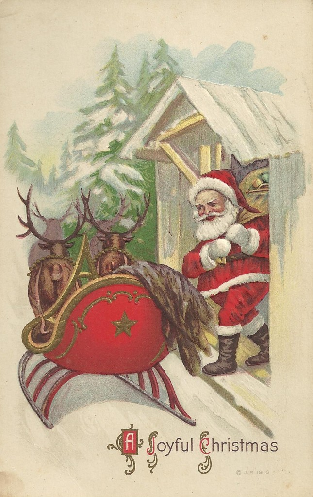 Santa getting into sleigh