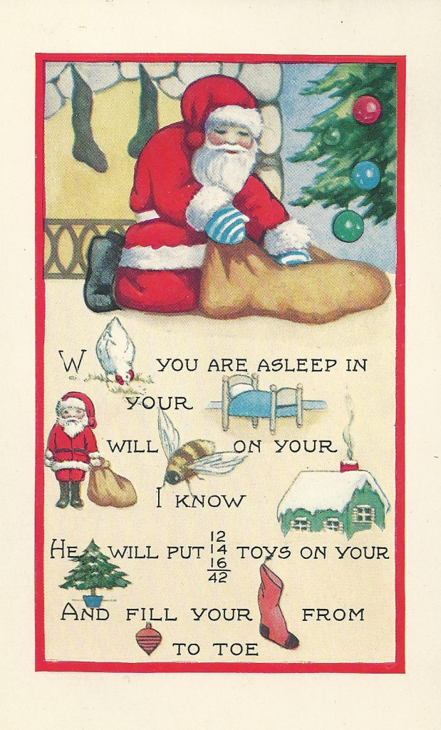 Christmas Card Santa emptying sack