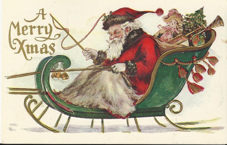 Christmas Card Santa sleigh