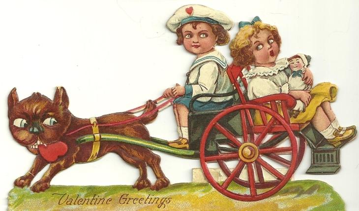 dog and cart valentine