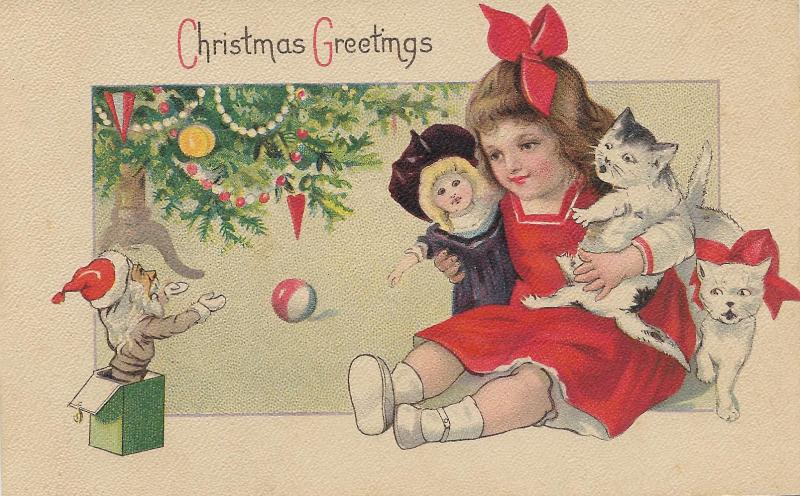 1921 postcard girl and two cats