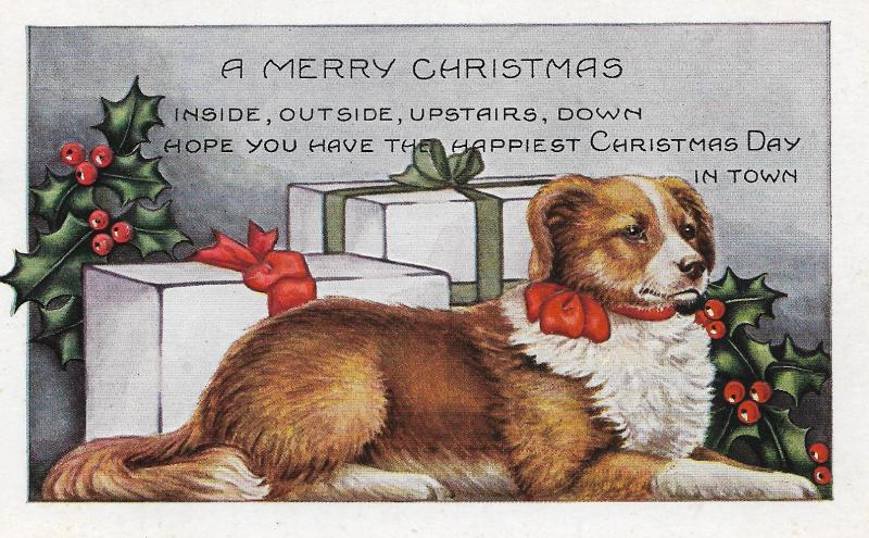 1923 Christmas dog card