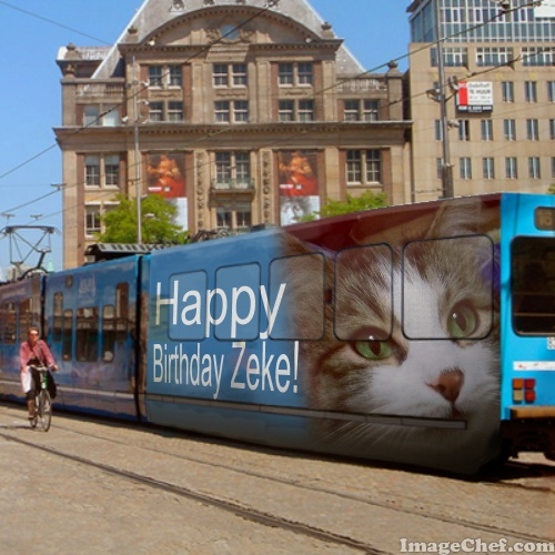Happy Birthday Zeke on streetcar