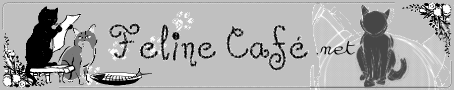 Feline Cafe blog header greyscale