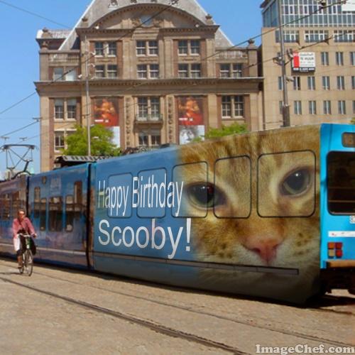 Scooby on trolley side happy birthday